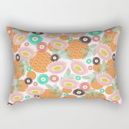 Geometric Oranges and Abstract Flowers Rectangular Pillow
