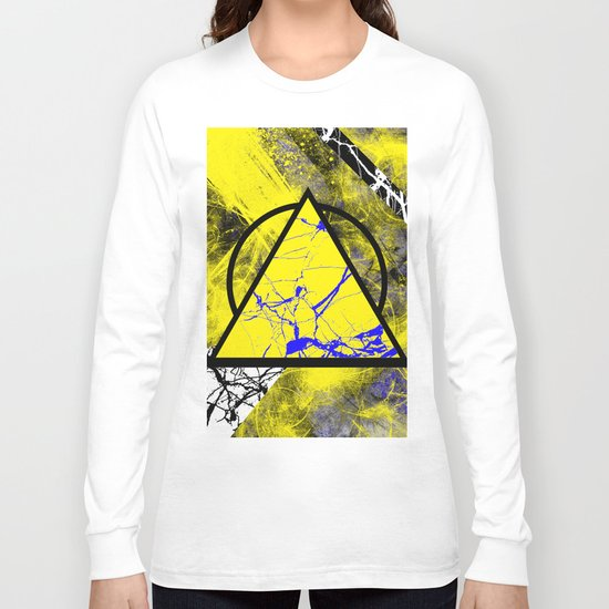 Night And Day - Blue And Yellow, Black And White, Abstract, Geometric, Marble Artwork Long Sleeve T-shirt