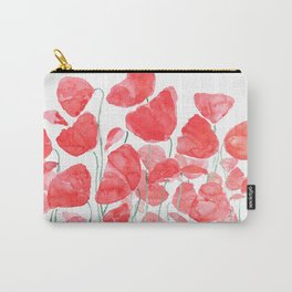 abstract red poppy field watercolor Carry-All Pouch