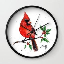 Cardinal + Holly Wall Clock