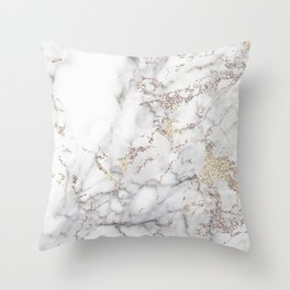Champagne Rose Gold Blush Metallic Glitter Foil on Grey Marble Throw Pillow