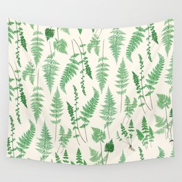 Ferns on Cream I - Botanical Print Wall Tapestry