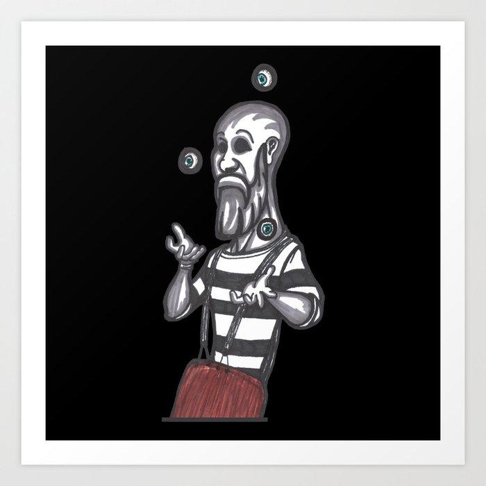 mime juggling Art Print