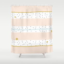 Pink and Blue stripes with gold confetti Shower Curtain