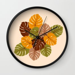 Retro 70s Monstera leaves brown orange moss green Wall Clock