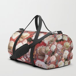 White Roses and Butterflies (Red) Duffle Bag