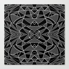 Abstraction Lines Mirrored White on Black Canvas Print