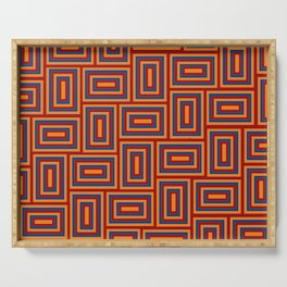 Boxed Rectangles Maze Hedge Paths Tangle Quilt Serving Tray