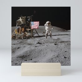Astronaut John Young leaps from lunar surface to salute flag Mini Art Print