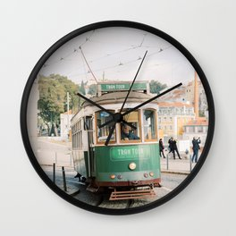 Green Tram in Lisbon | Portugal StreetcarTravel photography | Europe Trolley Wall Clock