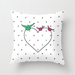 Lou's Heart & Birds Throw Pillow