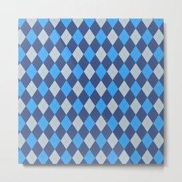 The Professor Blue Argyle Print Seamless Pattern Metal Print