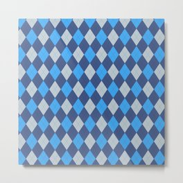 The Professor Blue Argyle Print Seamless Pattern Metal Print