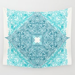 Teal Tangle Square Wall Tapestry