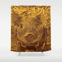 piglet Shower Curtains featuring Metal golden Piglet by MehrFarbeimLeben