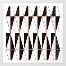 Modern geometric triangles rose gold on black white marble pattern Art Print