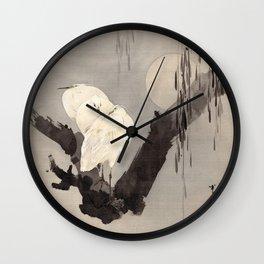 Egrets in a Tree at Night Wall Clock