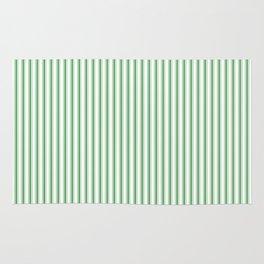 Small Christmas Green Mattress Ticking Stripes on Snow White Rug