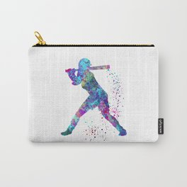 Girl Baseball Player Softball Batter Colorful Watercolor Blue Art Carry-All Pouch