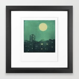 polaroid moon in the city Framed Art Print