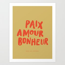 Paix Amour Bonheur French Brushlettered Quote Art Print