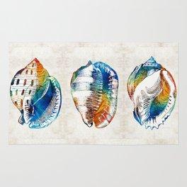 Colorful Seashell Art - Beach Trio - By Sharon Cummings Rug