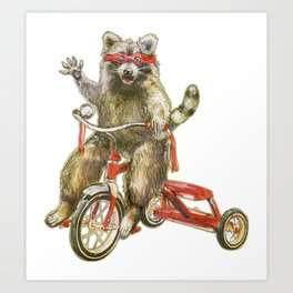 Raccoon Trike Joy Ride Art Print