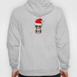 Christmas Kitten Wearing a Santa Hat Hoody