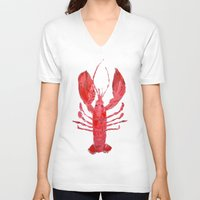 lobster V-neck T-shirts featuring Coastal Lobster by Ann Marie Coolick
