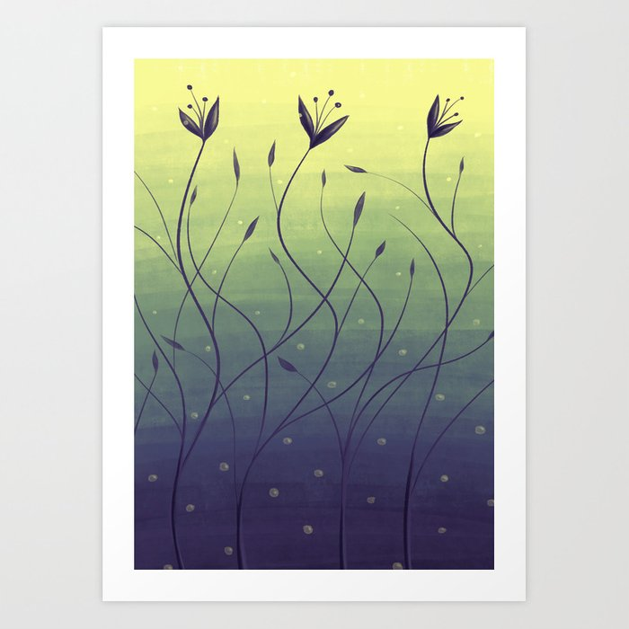 Purple Algae Plants In Green Water Art Print