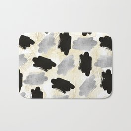 Modern black faux silver gold feathers brushstrokes Bath Mat