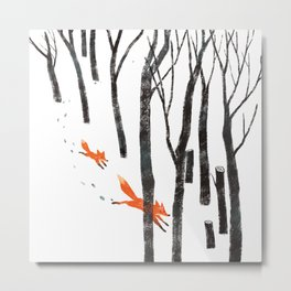 Foxes running in the Woods Metal Print