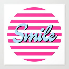 Smile, motivational positive inspiration sticker, cute sticker, pink, blue Canvas Print