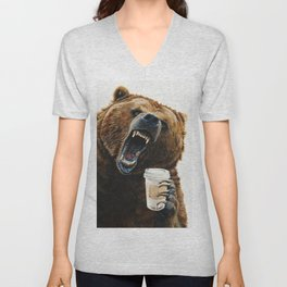 """ Grizzly Mornings "" give that bear some coffee Unisex V-Neck"