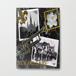 Classic New Orleans Black & white vintage collage Metal Print
