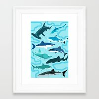 sharks Framed Art Prints featuring Sharks by Raffles Bizarre