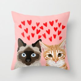 Valentines love cats siamese tabby cat lady gift cute kitten funny cat present for valentines day  Throw Pillow