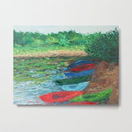 Kayaks on Rocky Gap Shore Metal Print