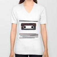 cassette V-neck T-shirts featuring ANALOG - CASSETTE by Verene Krydsby