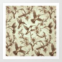 Sepia Hummingbird Pattern Art Print