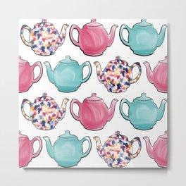 Colourful Teapots Metal Print