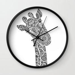 Giraffe in Monochrome Wall Clock