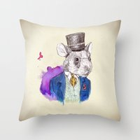 hamster Throw Pillows featuring hamster by Amit Shimoni