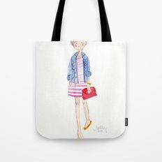 Pink Stripes + Denim Jacket Tote Bag