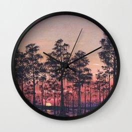 Louisiana Swamp Sunset Wall Clock