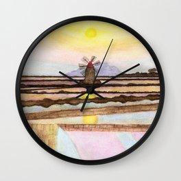 Salt Pans & Mill Watercolor Wall Clock