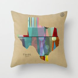 Texas state map Throw Pillow