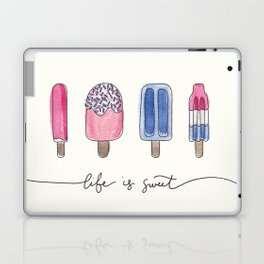 Life is Sweet Hand Lettered Watercolor Popsicle Illustration Laptop & iPad Skin