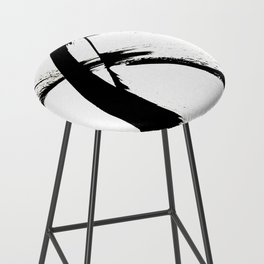 Brushstroke [7]: a minimal, abstract piece in black and white Bar Stool
