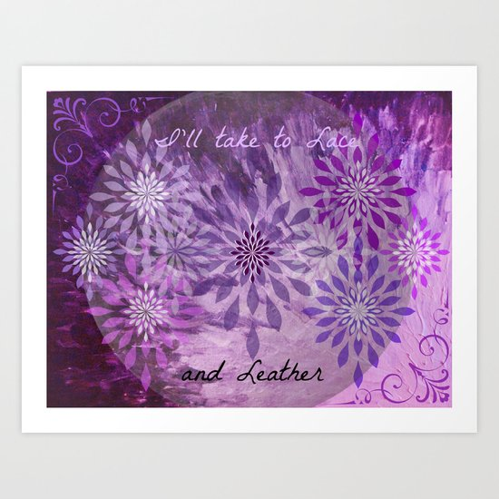 LACE AND LEATHER - Underwear Love Project Deep Purple Lace Pattern Fancy Elegant Typography Abstract Art Print